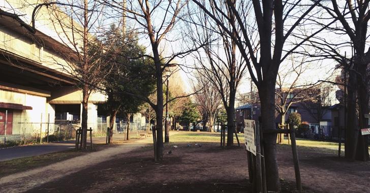 埼京線の下は穏やかな緑地