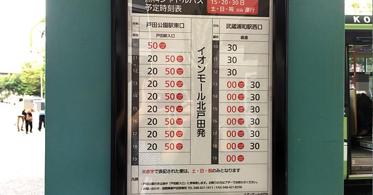 イオンモール北戸田からのシャトルバス