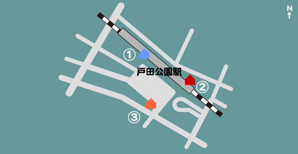 戸田公園駅に近い照明写真機マップ