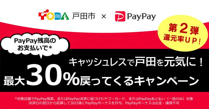 戸田市・最大30パーセント戻ってくるキャンペーン